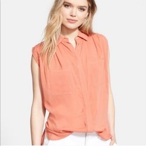 Vince Sleeveless Button Down Blouse